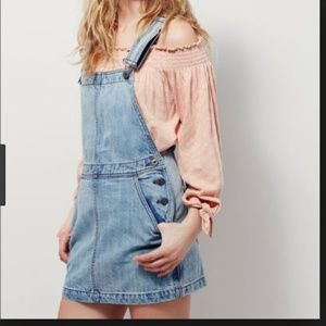 FREE PEOPLE Denim Me and You Overall/ Jumper Dress